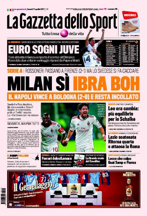 prima pagina gazzetta dello sport oggi 11 aprile 2011 ultime notizie flash. Black Bedroom Furniture Sets. Home Design Ideas